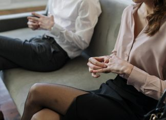 Couple attending a family law mediation procedure